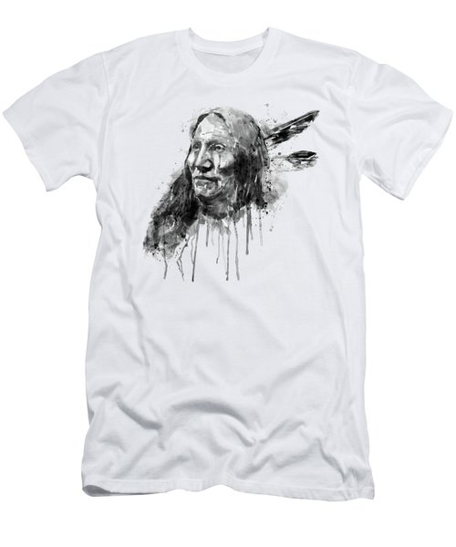 Native American Portrait Black And White Men's T-Shirt (Athletic Fit)