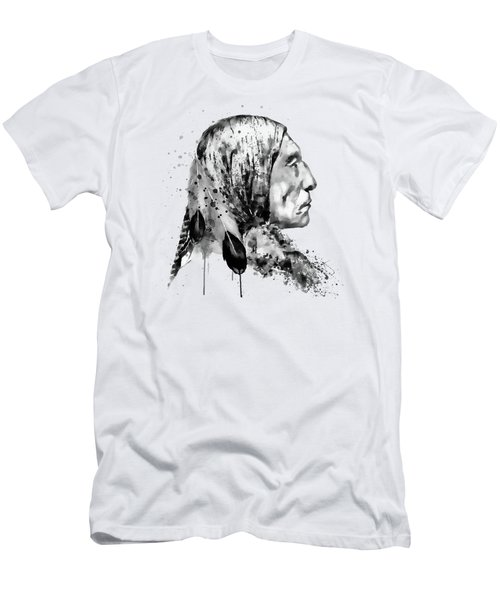 Native American Side Face Black And White Men's T-Shirt (Athletic Fit)