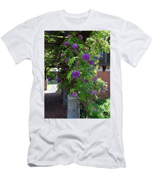 Men's T-Shirt (Slim Fit) featuring the painting Native Wisteria Vine I by Angela Annas