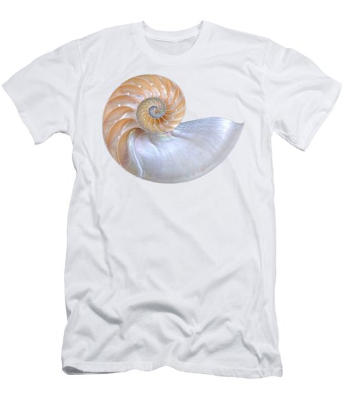 Natural Nautilus Seashell On White Men's T-Shirt (Athletic Fit)
