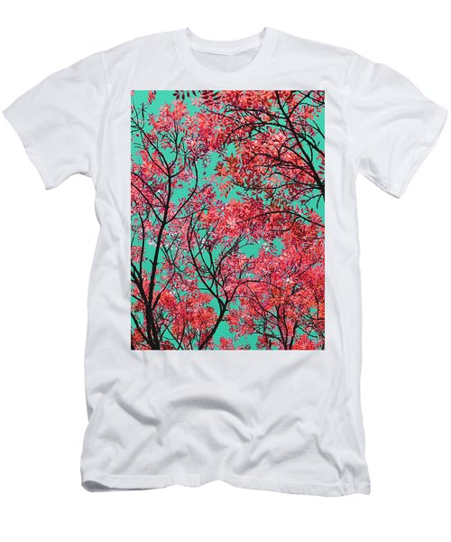 Men's T-Shirt (Slim Fit) featuring the photograph Natures Magic - Fire Red by Rebecca Harman