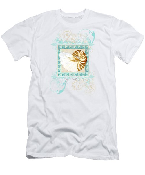 Nautilus Shell Greek Key W Swirl Flourishes Men's T-Shirt (Slim Fit) by Audrey Jeanne Roberts