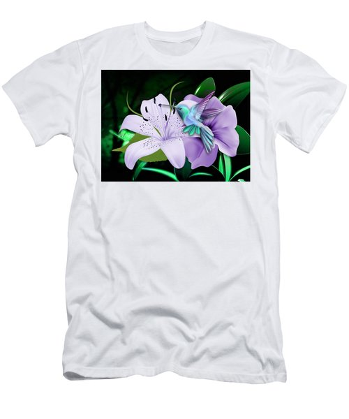 Men's T-Shirt (Athletic Fit) featuring the mixed media Navigation Humming Bird by Marvin Blaine