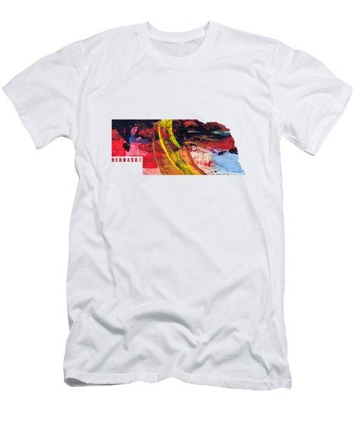 Nebraska Map Art - Painted Map Of Nebraska Men's T-Shirt (Athletic Fit)