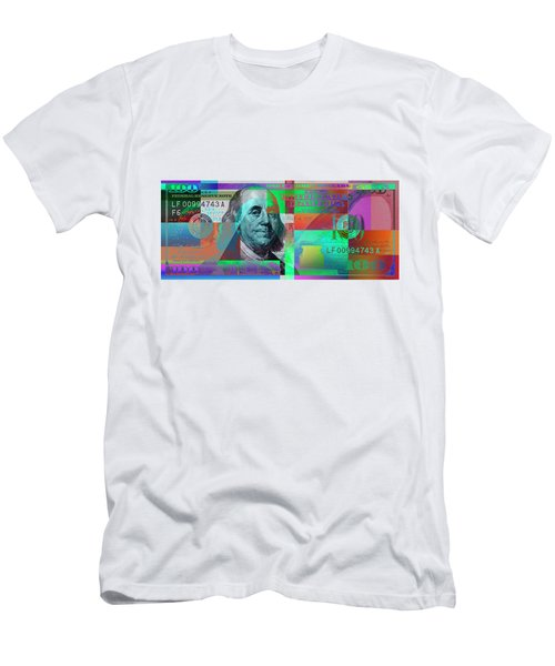 New 2009 Series Pop Art Colorized Us One Hundred Dollar Bill  No. 2 Men's T-Shirt (Athletic Fit)