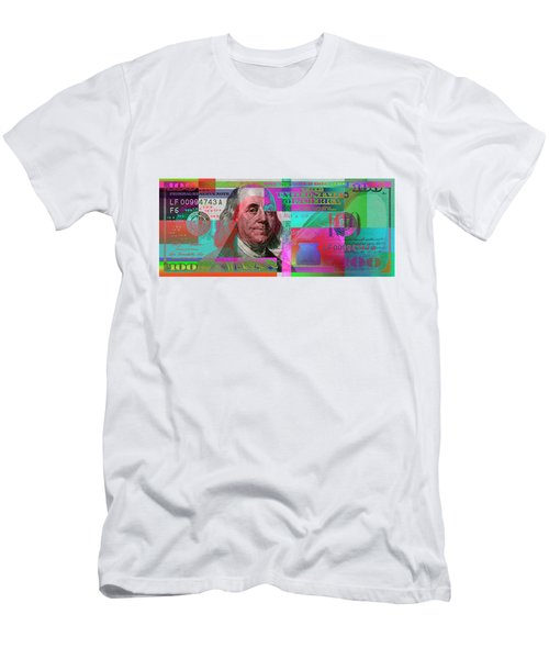 New 2009 Series Pop Art Colorized Us One Hundred Dollar Bill  No. 3 Men's T-Shirt (Athletic Fit)