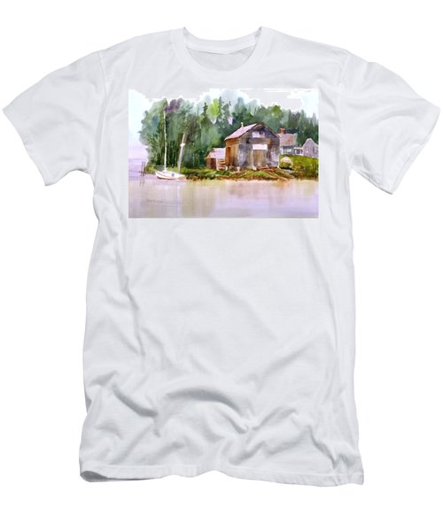 New England Boat Repair Men's T-Shirt (Slim Fit) by Larry Hamilton