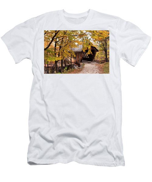 New England College No. 63 Covered Bridge  Men's T-Shirt (Slim Fit) by Betty Pauwels