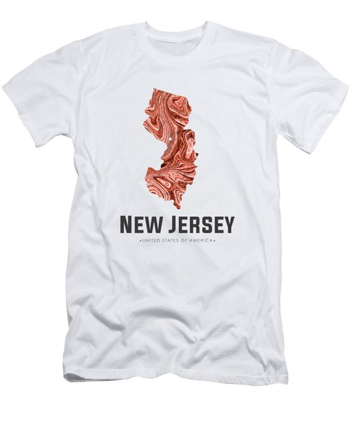 New Jersey Map Art Abstract In Brown Men's T-Shirt (Athletic Fit)