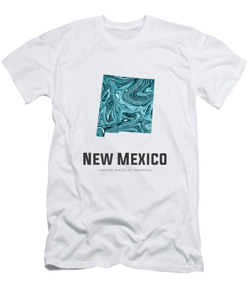 New Mexico Map Art Abstract In Blue Men's T-Shirt (Athletic Fit)