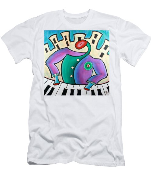 Men's T-Shirt (Athletic Fit) featuring the painting New Orleans Cool Jazz Piano by Bob Baker