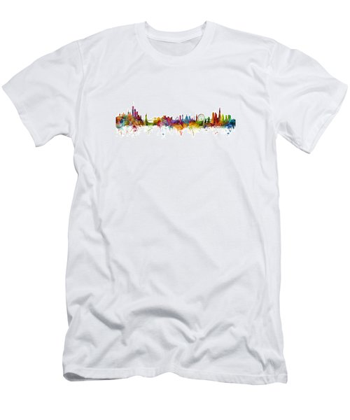 New York And London Skyline Mashup Men's T-Shirt (Athletic Fit)