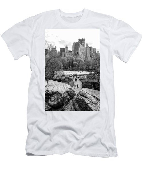 Men's T-Shirt (Athletic Fit) featuring the photograph New York City Central Park Ice Skating by Ranjay Mitra