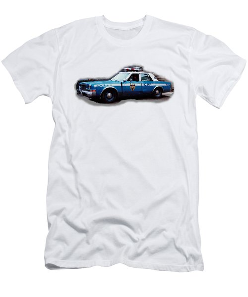New York City Police Patrol Car 1980s Men's T-Shirt (Slim Fit) by Tom Conway