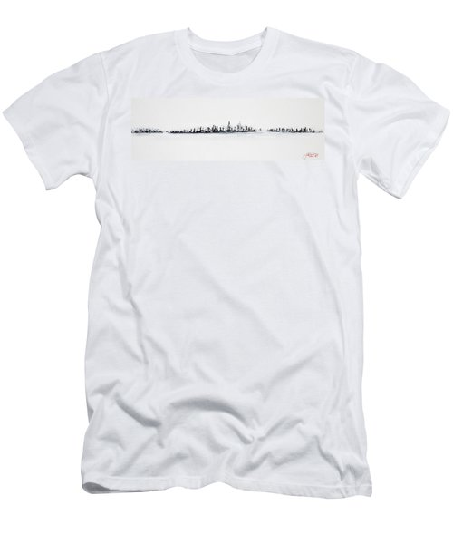 New York City Skyline Black And White Men's T-Shirt (Slim Fit)