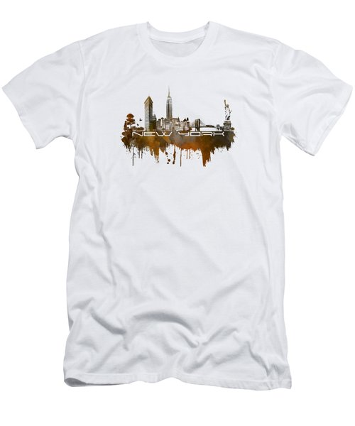 New York City Skyline Brown Men's T-Shirt (Slim Fit) by Justyna JBJart