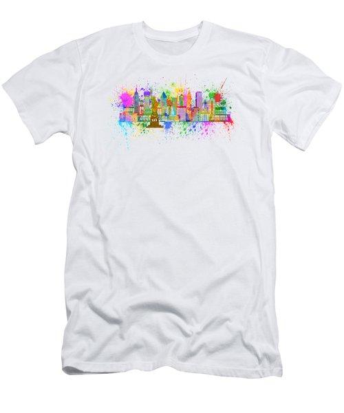 New York Skyline Paint Splatter Illustration Men's T-Shirt (Slim Fit) by Jit Lim
