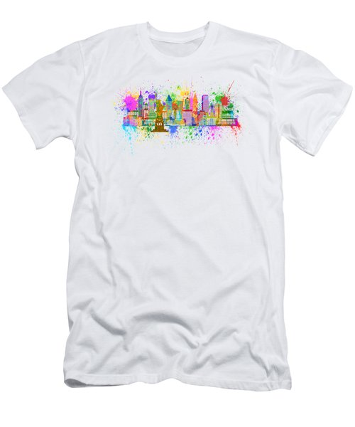 New York Skyline Paint Splatter Illustration Men's T-Shirt (Athletic Fit)