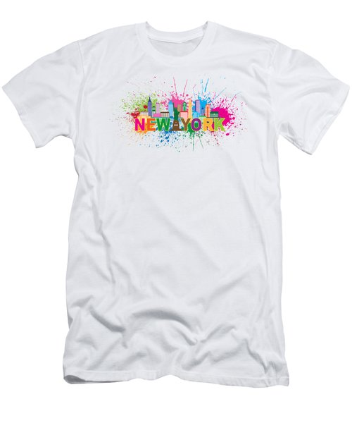 New York Skyline Paint Splatter Text Illustration Men's T-Shirt (Athletic Fit)