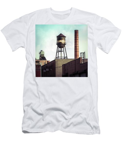 Men's T-Shirt (Slim Fit) featuring the photograph New York Water Towers 19 - Urban Industrial Art Photography by Gary Heller