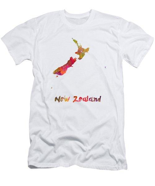 New Zealand In Watercolor Men's T-Shirt (Slim Fit) by Pablo Romero