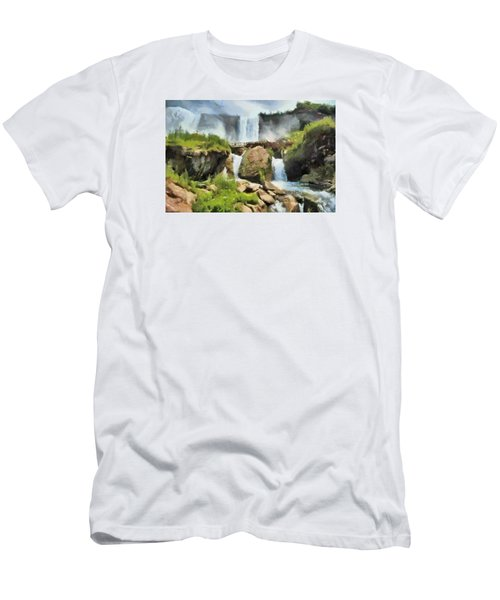 Men's T-Shirt (Slim Fit) featuring the digital art Niagara Falls Cave Of The Winds by Charmaine Zoe