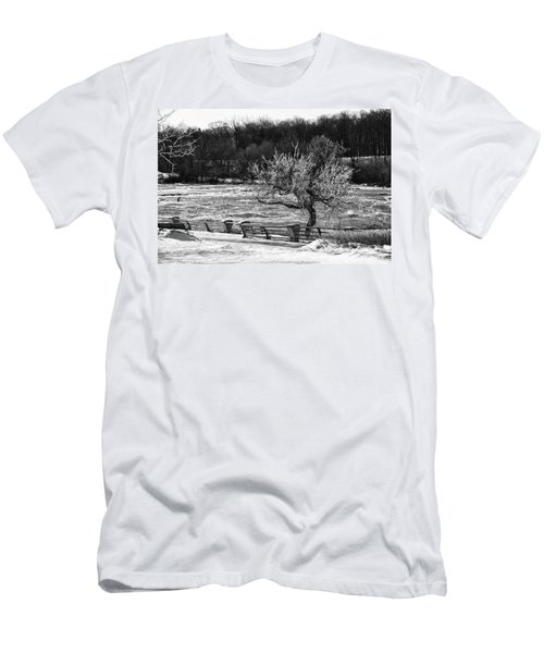 Men's T-Shirt (Slim Fit) featuring the photograph Niagara Falls Ice 4514 by Guy Whiteley