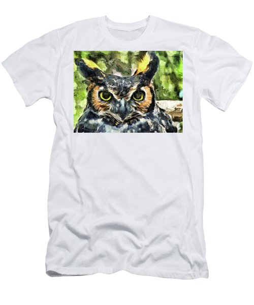 Men's T-Shirt (Slim Fit) featuring the mixed media Night Owl by Trish Tritz