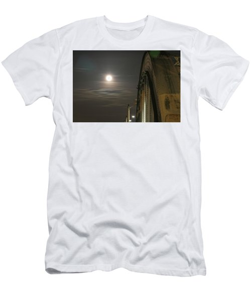 Night Shot Of The Los Angeles 6th Street Bridge And Supermoon #2 Men's T-Shirt (Athletic Fit)