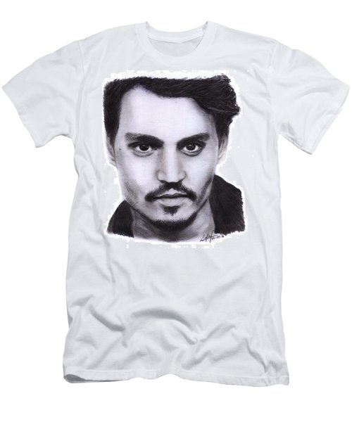 Johnny Depp Drawing By Sofia Furniel Men's T-Shirt (Athletic Fit)