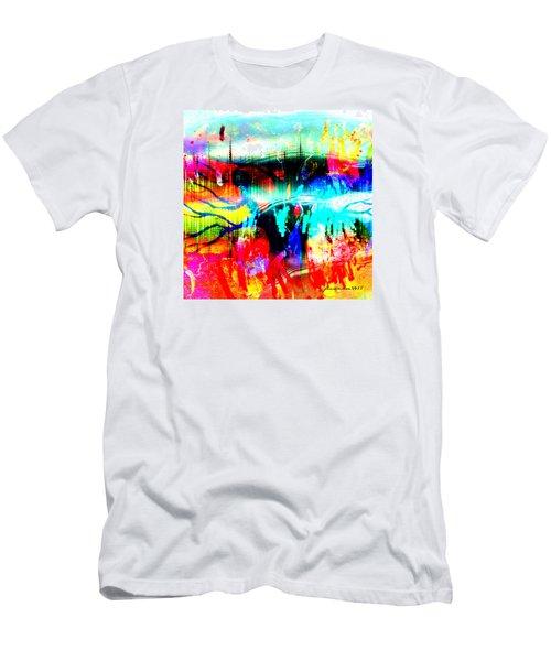 Men's T-Shirt (Slim Fit) featuring the mixed media Noel Tree by Fania Simon