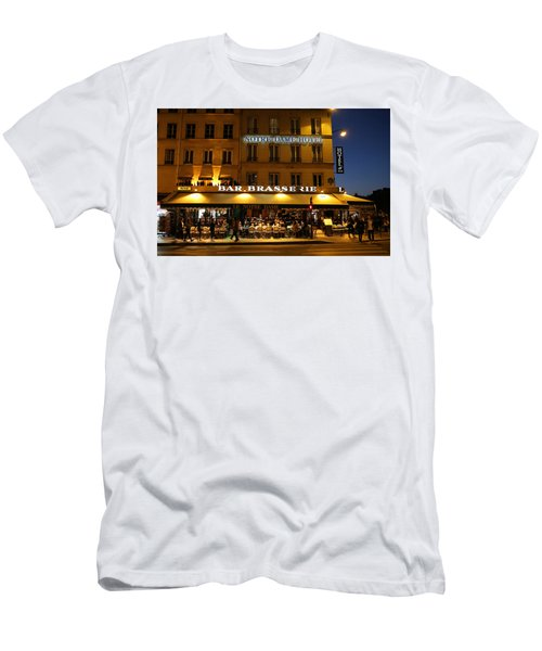 Men's T-Shirt (Slim Fit) featuring the photograph Notre Dame Cafe by Andrew Fare