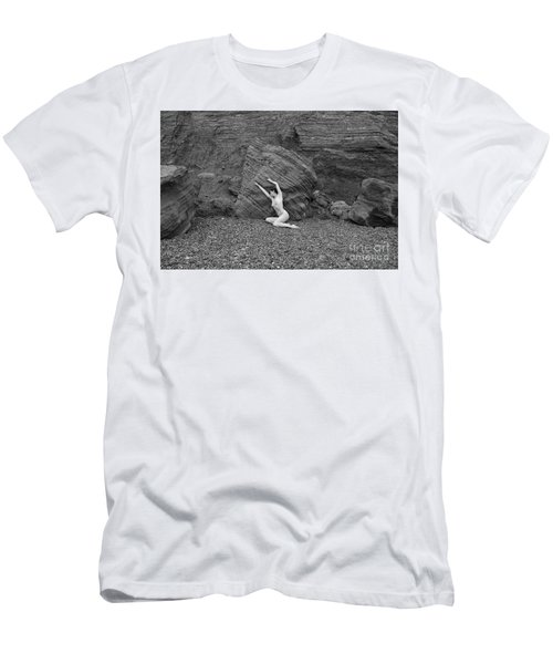 Nude Woman Pulling Shape By Rocks Men's T-Shirt (Athletic Fit)