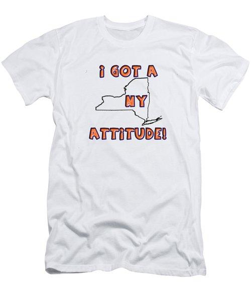 Ny Attitude-mets Colors Men's T-Shirt (Slim Fit) by Judy Hall-Folde