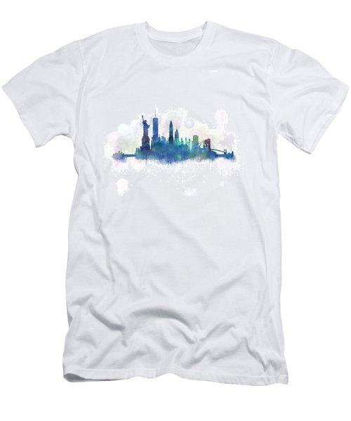 Ny New York City Skyline V3 Watercolor Men's T-Shirt (Athletic Fit)