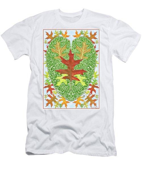 Men's T-Shirt (Slim Fit) featuring the digital art Oak Leaf In A Heart by Lise Winne