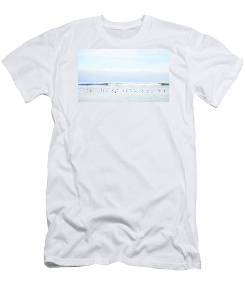 Men's T-Shirt (Slim Fit) featuring the photograph Ocean View With Seagulls by Theresa Tahara