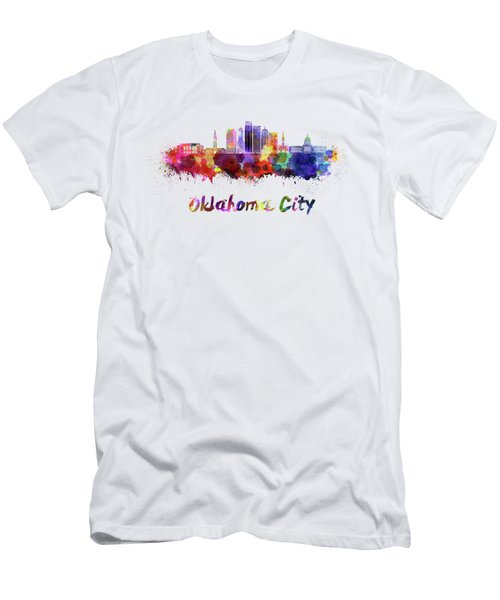 Oklahoma City V2 Skyline In Watercolor Men's T-Shirt (Athletic Fit)