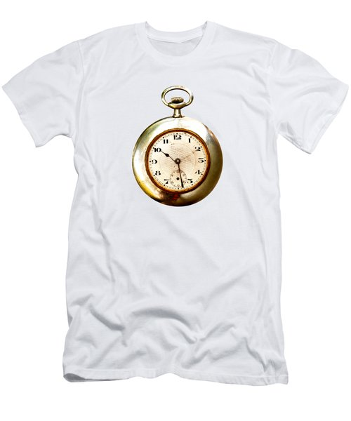 Men's T-Shirt (Slim Fit) featuring the photograph Old And Used Pocket Clock Om White Background by Michal Boubin