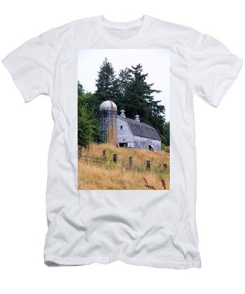 Old Barn In Field Men's T-Shirt (Slim Fit) by Athena Mckinzie