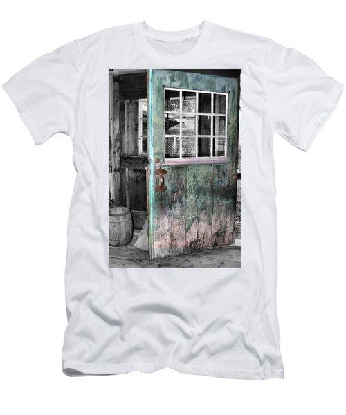 Rustic Blue - Green Door  Men's T-Shirt (Athletic Fit)