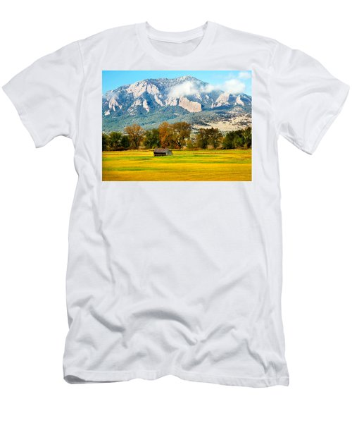 old shed against Flatirons Men's T-Shirt (Athletic Fit)