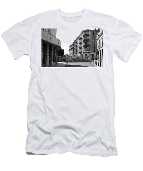Old Town Neighborhood In The Black And White Of Blight Men's T-Shirt (Slim Fit) by Lorraine Devon Wilke