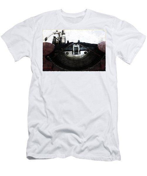 Old Typewriter Machine In Grunge Style Men's T-Shirt (Athletic Fit)