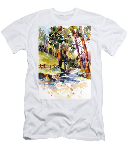 Men's T-Shirt (Slim Fit) featuring the painting Olinda Trees Maui 2 by Rae Andrews