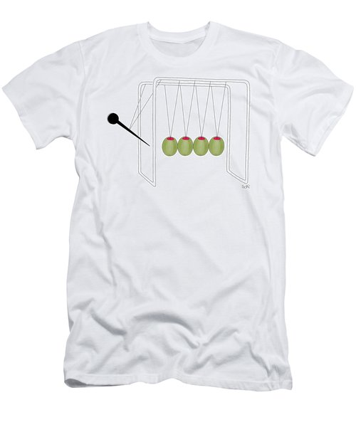 Olives And Toothpick On Newtons Cradle Men's T-Shirt (Athletic Fit)