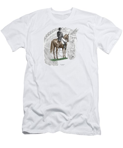 Men's T-Shirt (Slim Fit) featuring the drawing On Centerline - Dressage Horse Print Color Tinted by Kelli Swan