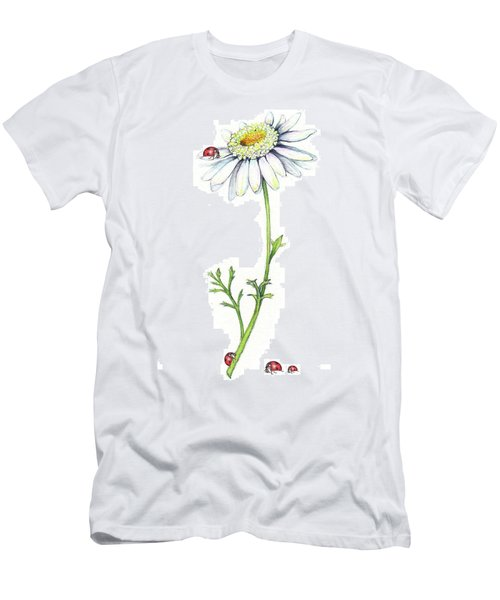 Men's T-Shirt (Slim Fit) featuring the painting One Daisy And Four Ladybugs by Heidi Kriel
