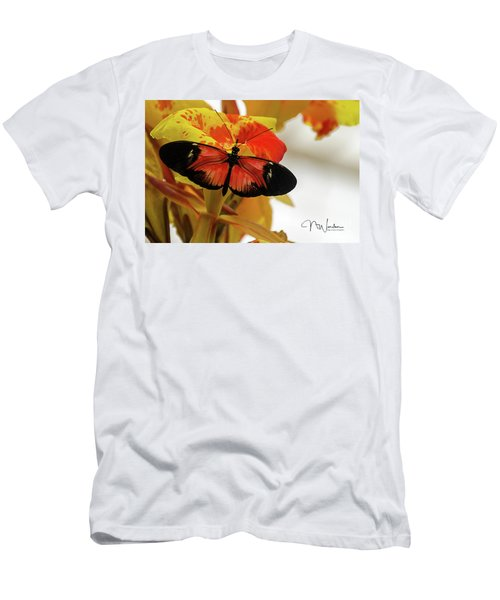 Orange And Black Butterfly Men's T-Shirt (Athletic Fit)