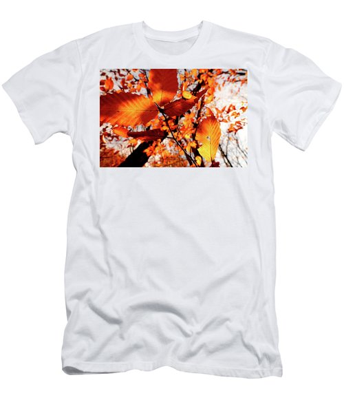 Orange Fall Leaves Men's T-Shirt (Slim Fit) by Meta Gatschenberger